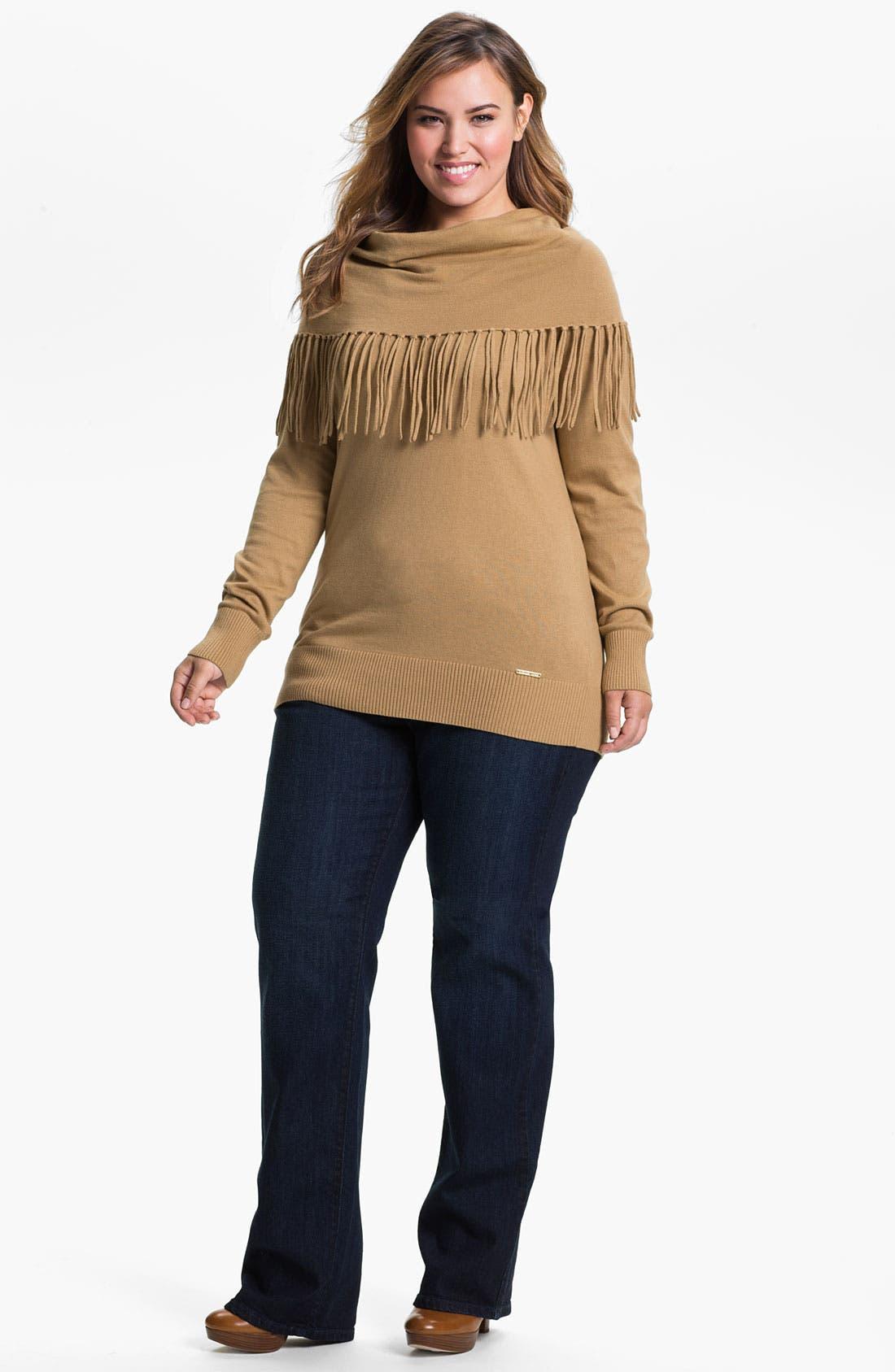 Alternate Image 4  - MICHAEL Michael Kors Fringed Cowl Sweater (Plus)