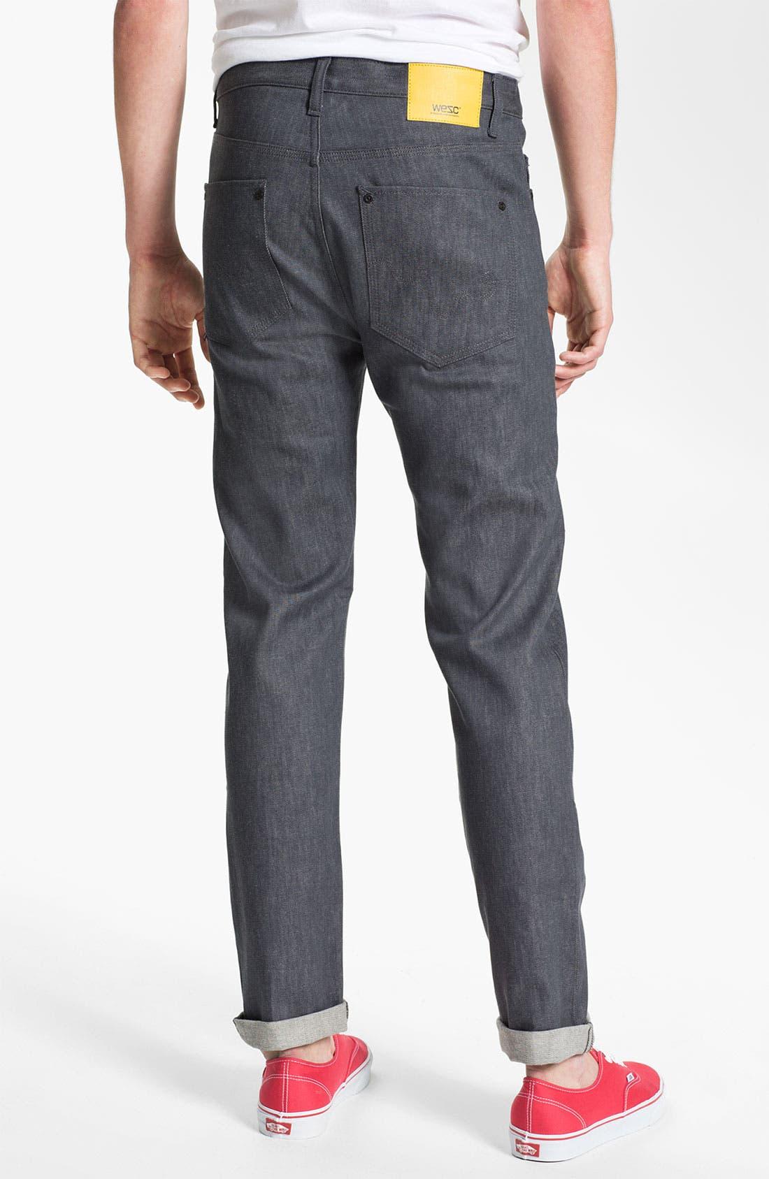 Alternate Image 1 Selected - WeSC 'Eddy' Slim Fit Jeans (Raw Grey)