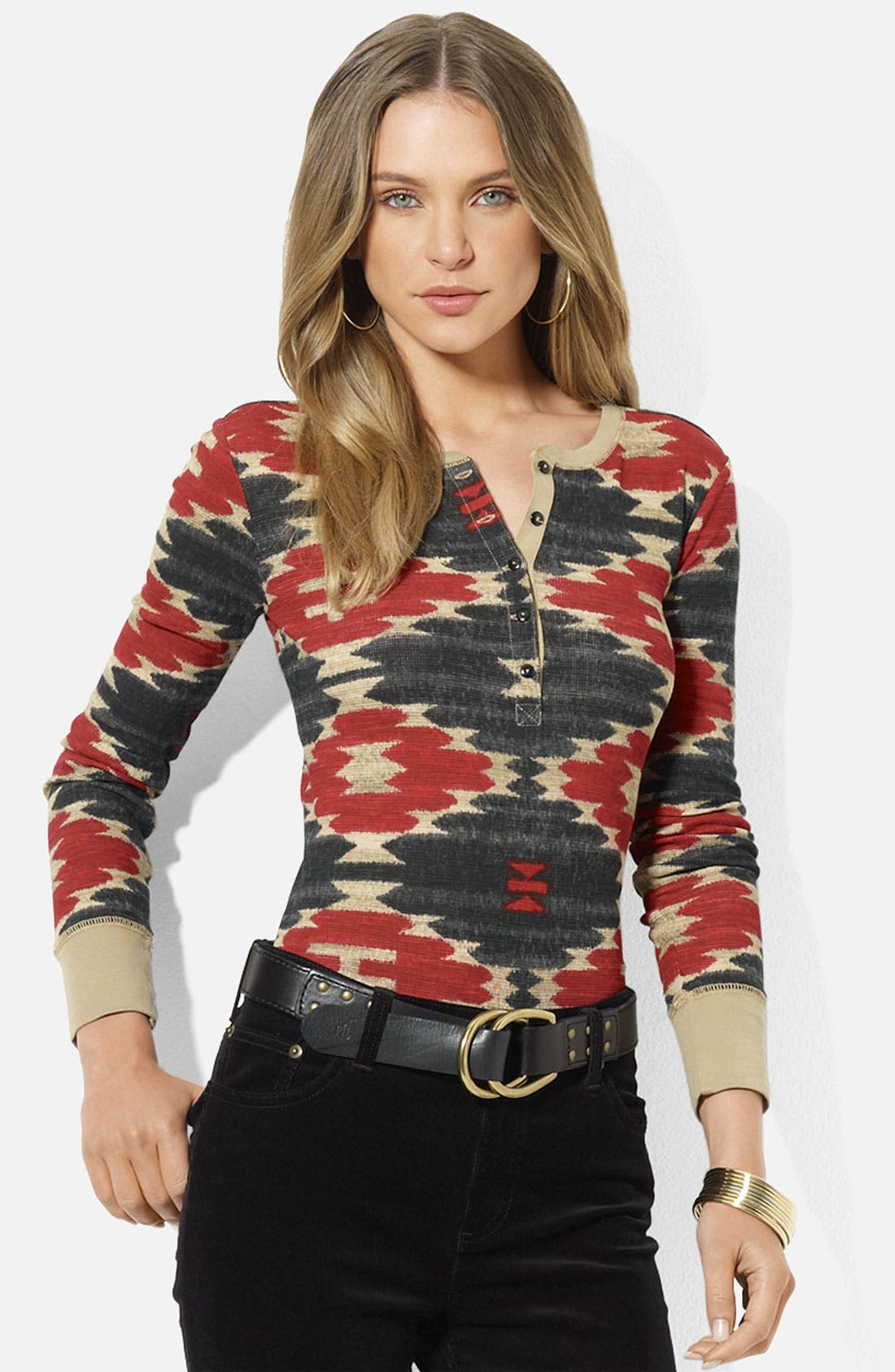 Alternate Image 1 Selected - Lauren Ralph Lauren Print Henley Top (Petite)