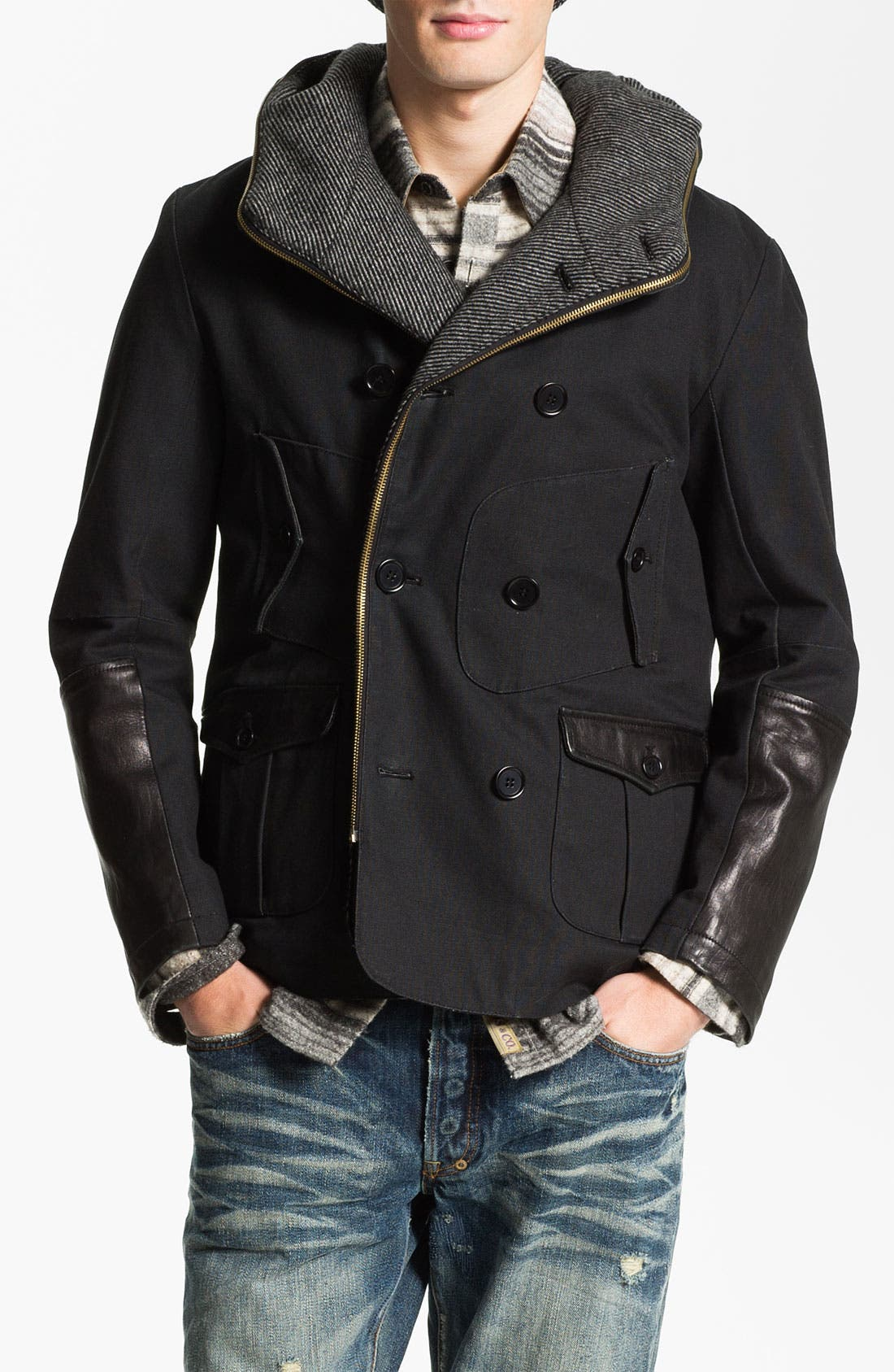 Main Image - PRPS Double Breasted Convertible Coat
