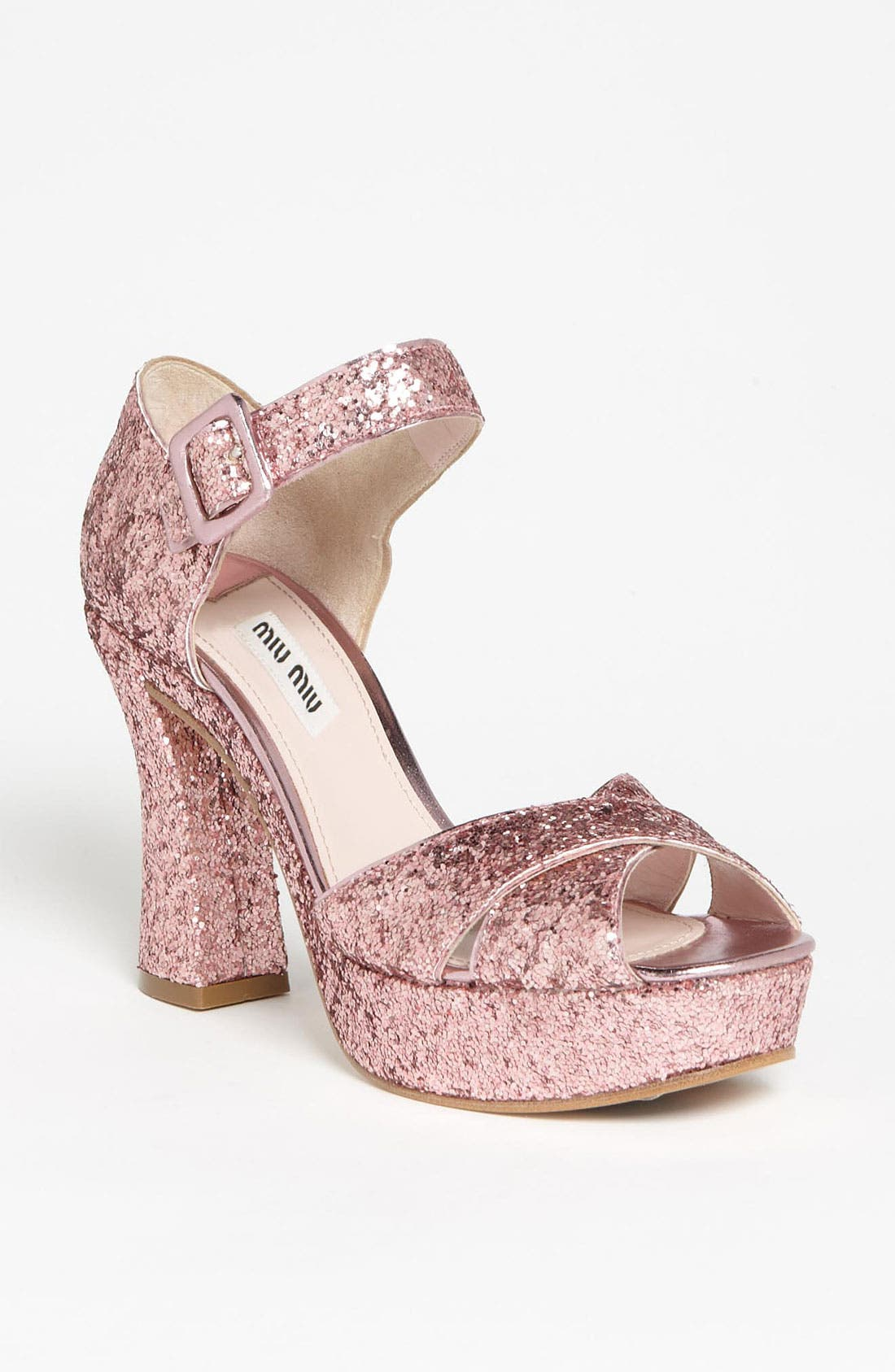 Main Image - Miu Miu Glitter Block Heel Sandal