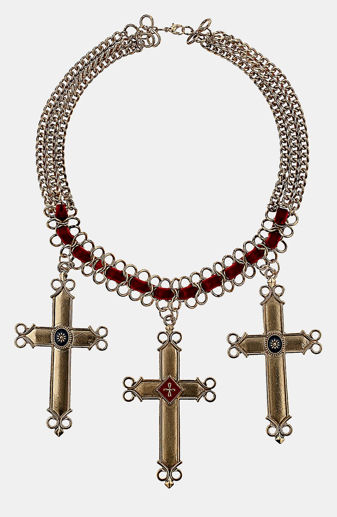 Alternate Image 1 Selected - Topshop Threaded Cross Necklace