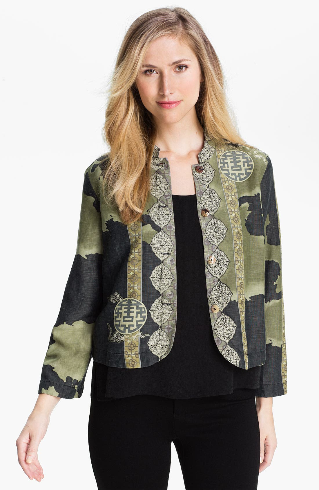 Alternate Image 1 Selected - Citron Mandarin Collar Jacket (Petite)