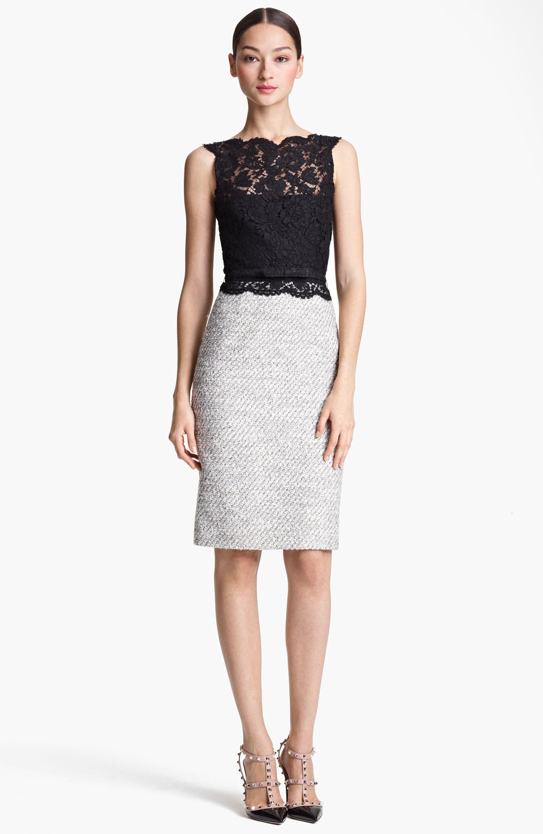 Main Image - Valentino Belted Lace & Tweed Sheath Dress