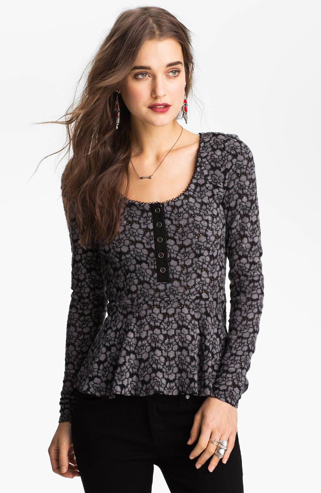 Alternate Image 1 Selected - Free People Lace Peplum Henley