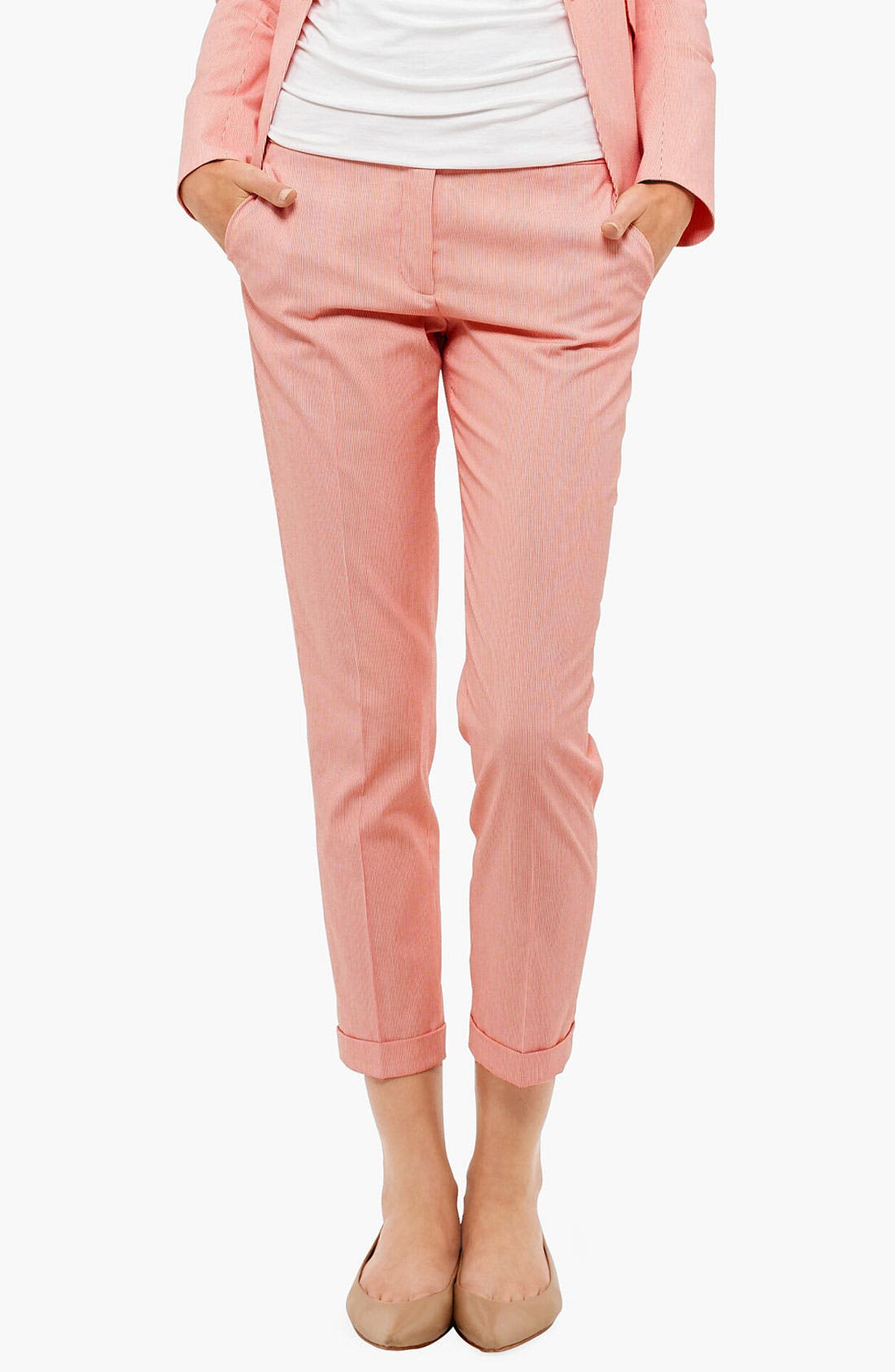 Alternate Image 1 Selected - Akris punto 'Frankie' Microstripe Crop Pants