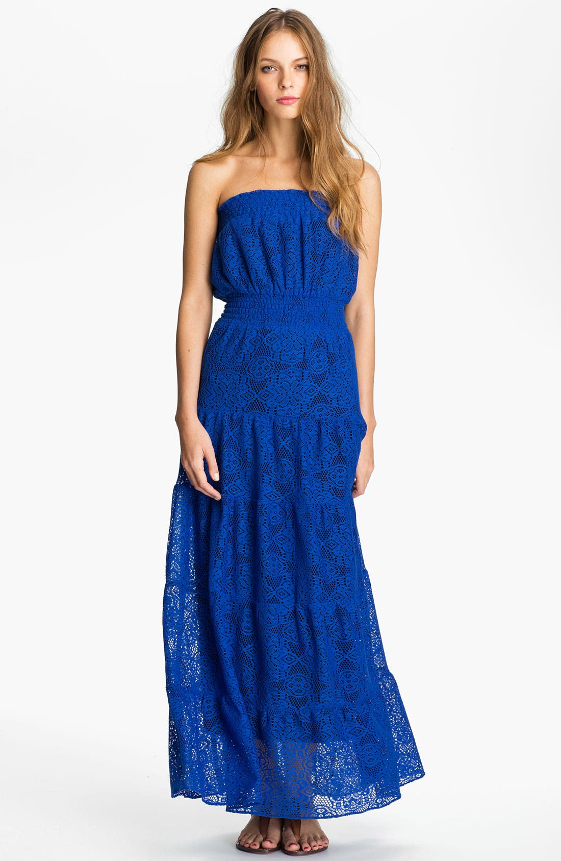 Alternate Image 1 Selected - Tbags Los Angeles Strapless Tiered Lace Maxi Dress