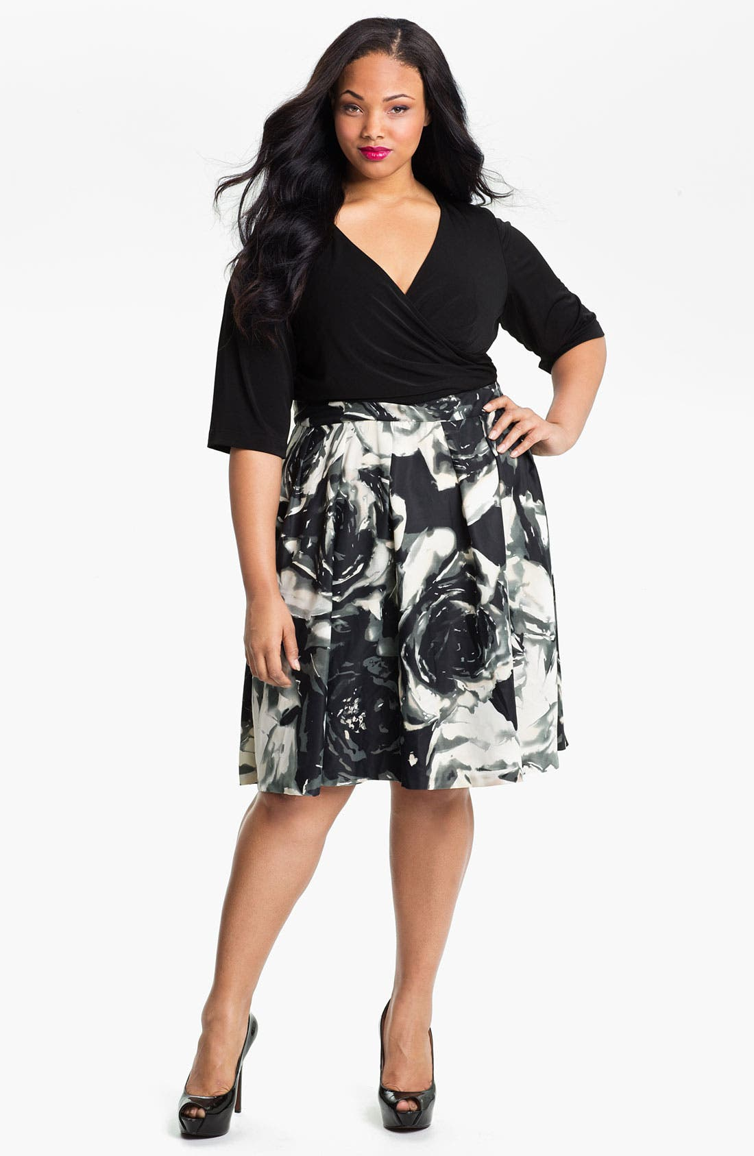 Alternate Image 1 Selected - Donna Ricco Mock Two Piece Surplice Dress (Plus)