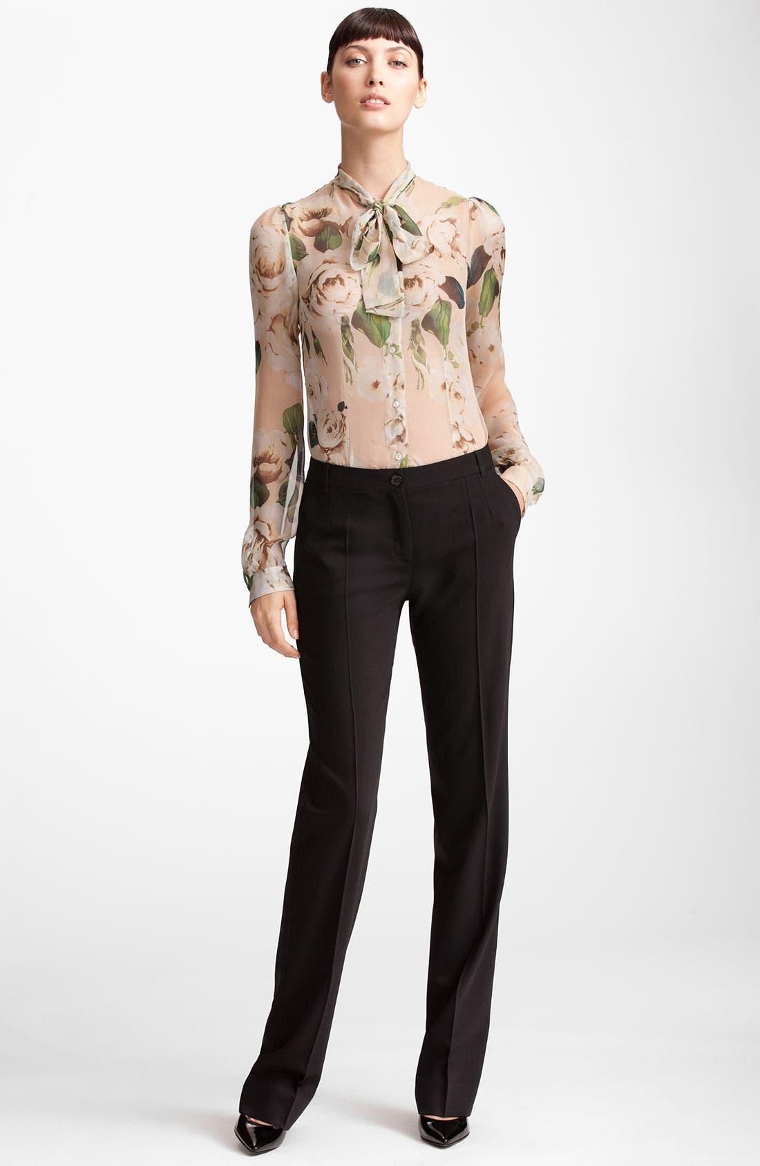 Alternate Image 4  - Dolce&Gabbana Rose Print Chiffon Blouse