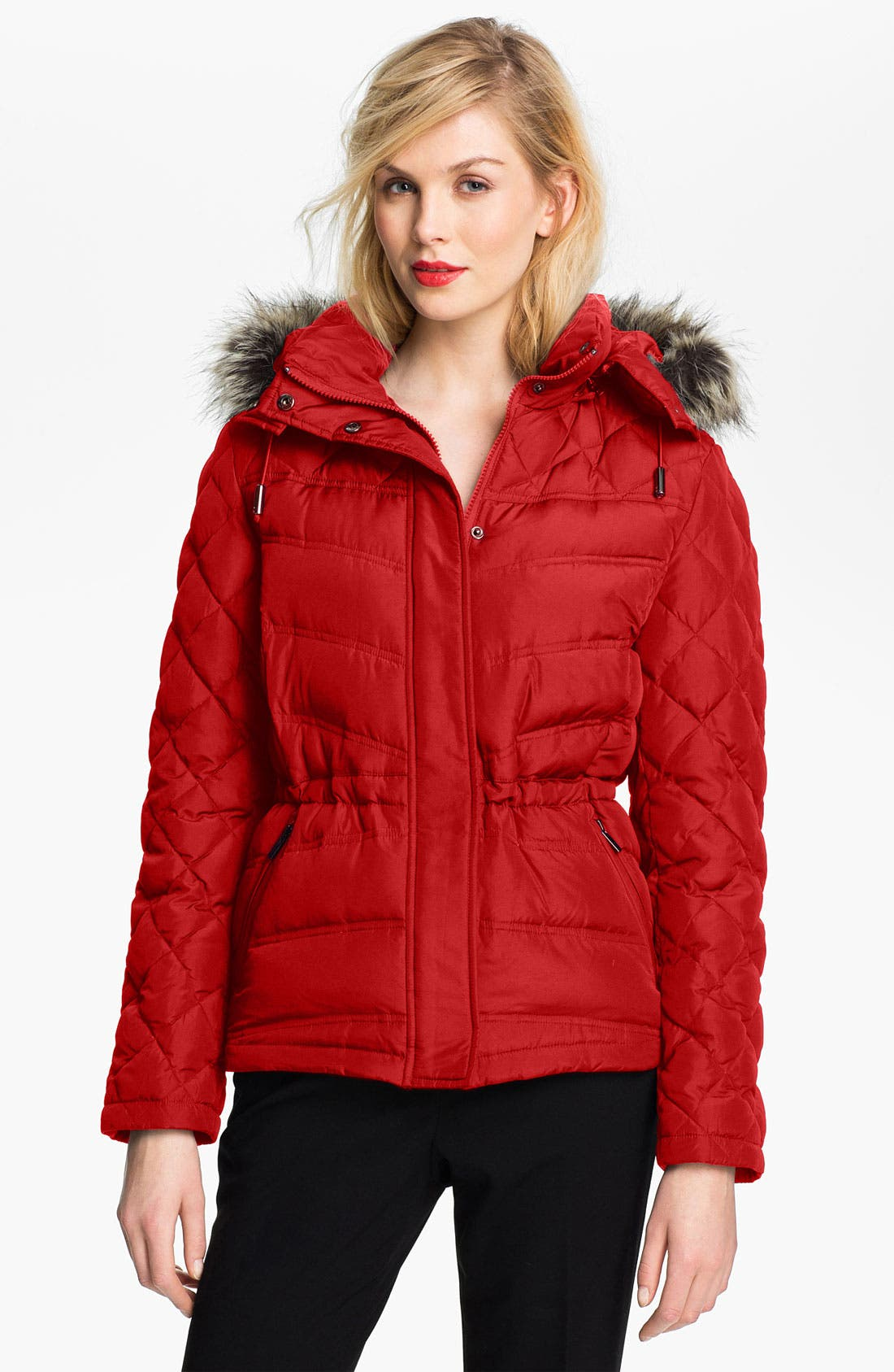 Alternate Image 1 Selected - Kenneth Cole New York Quilted Anorak with Faux Fur Trim