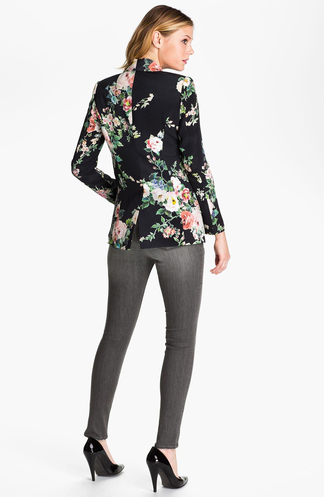 Alternate Image 5  - Truth and Pride 'Dark Vintage Rose' Print Silk Blazer
