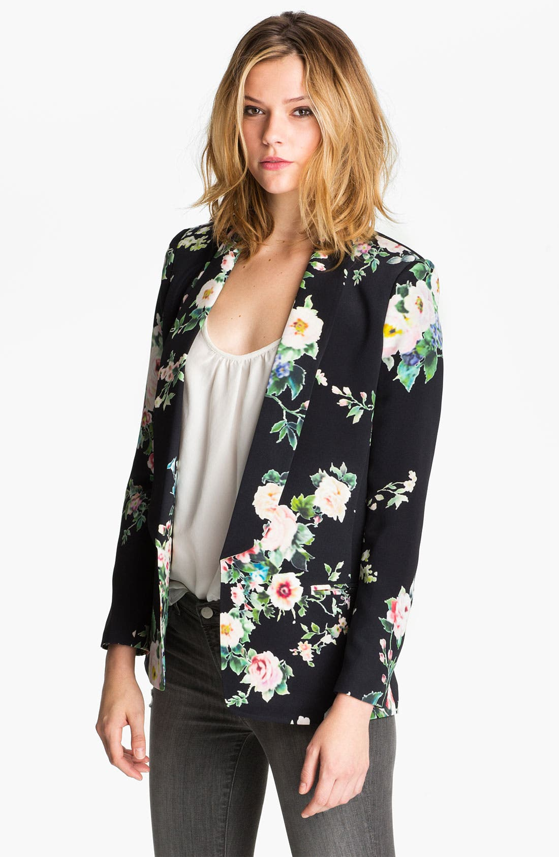 Alternate Image 1 Selected - Truth and Pride 'Dark Vintage Rose' Print Silk Blazer
