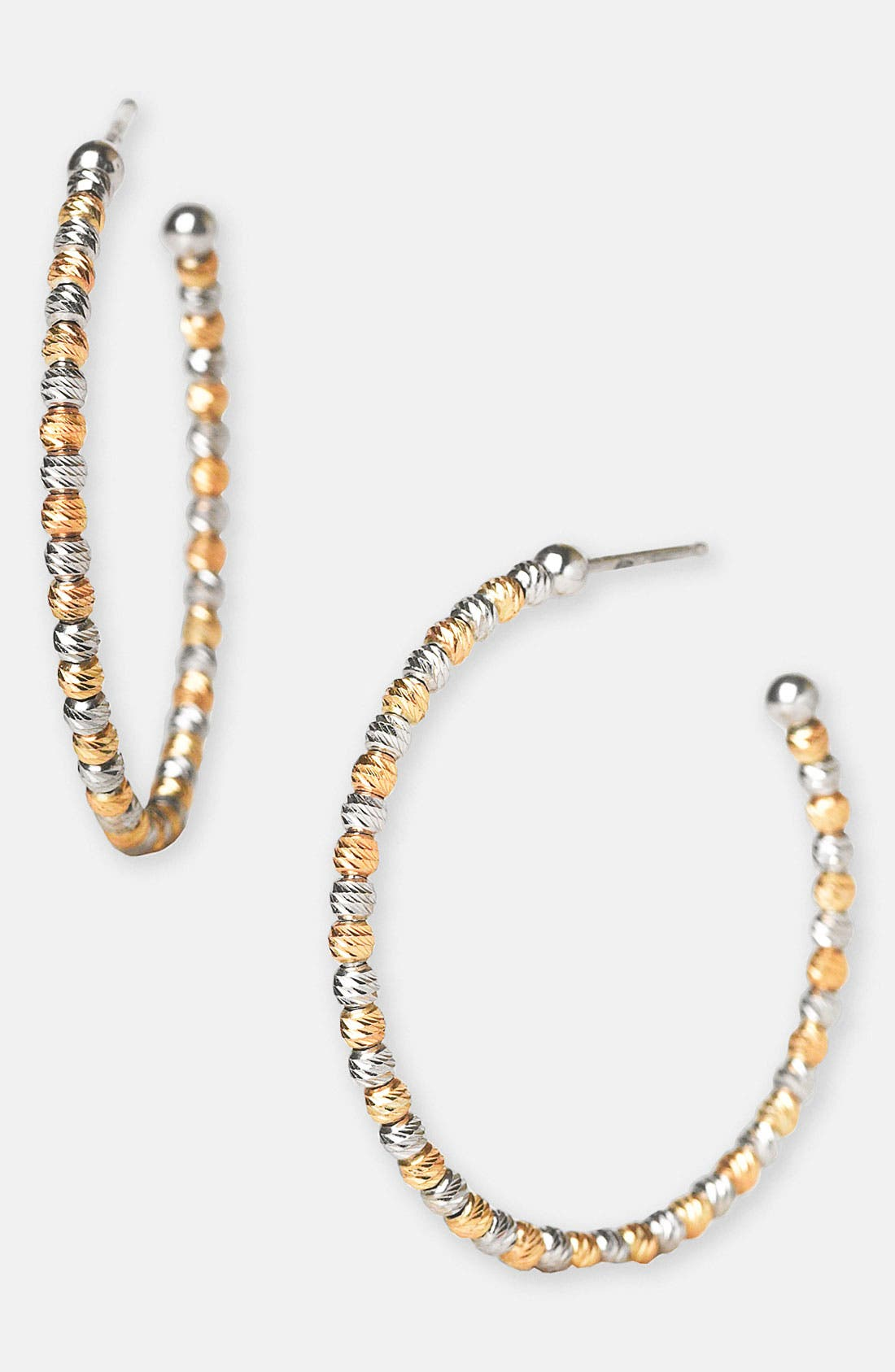 Main Image - Argento Vivo Beaded Hoop Earrings