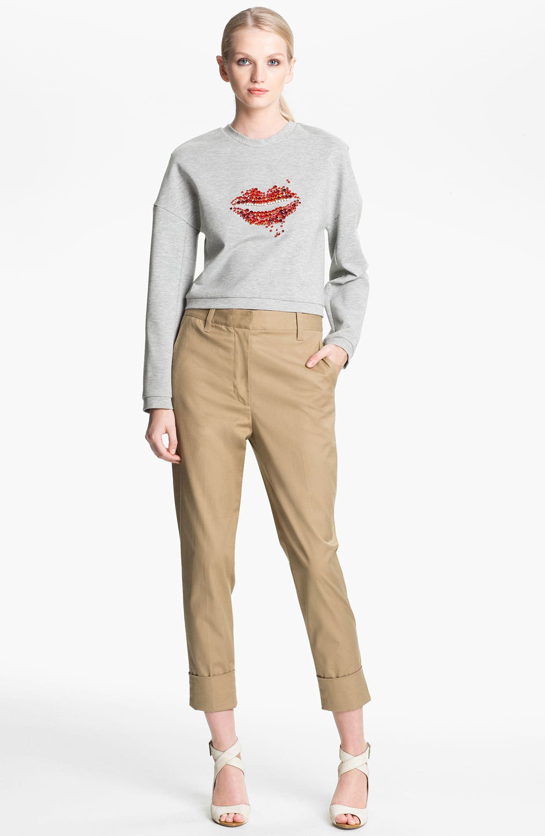 Alternate Image 1 Selected - 3.1 Phillip Lim Bead Embellished Crop Sweatshirt