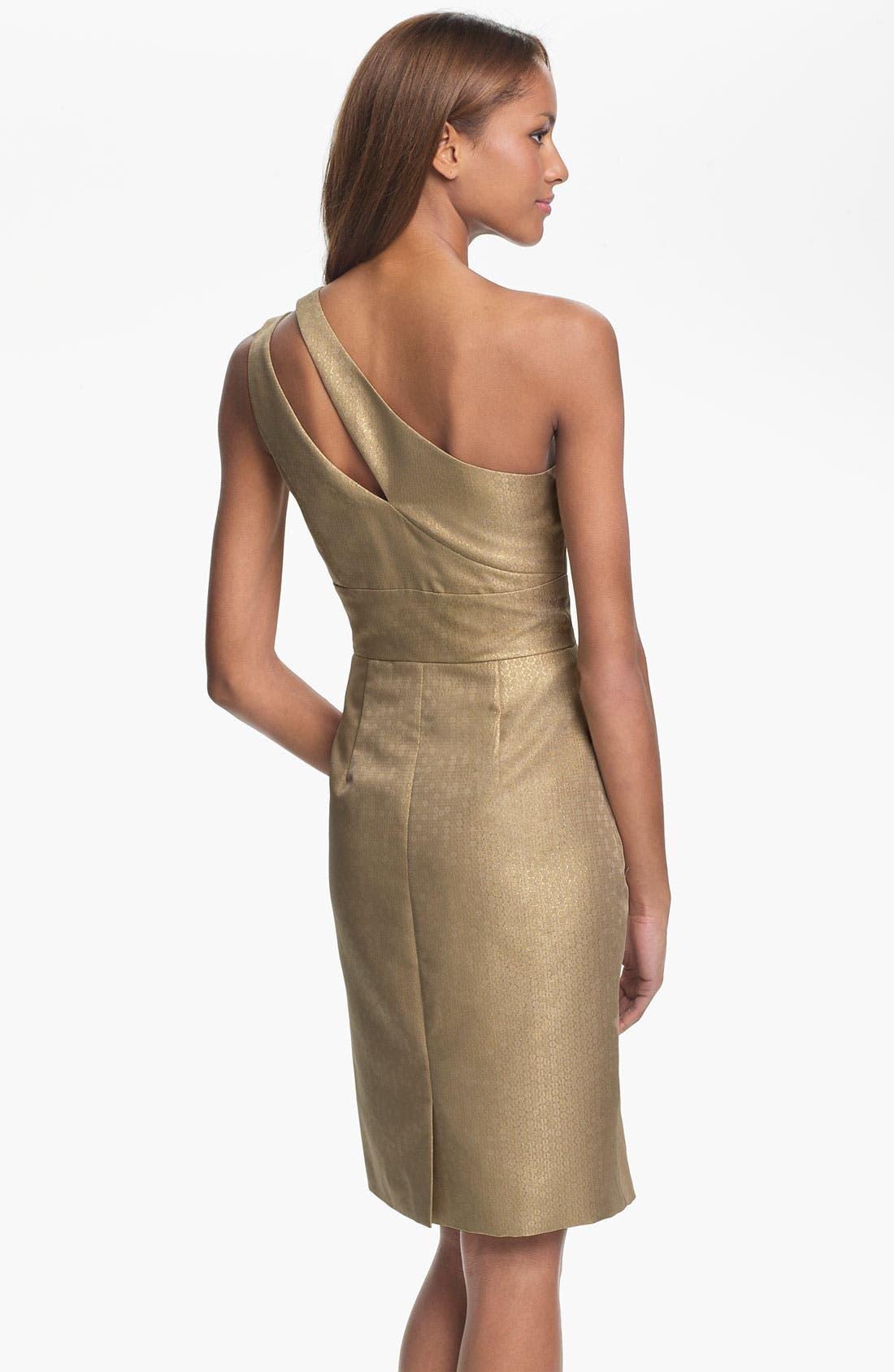 Alternate Image 2  - ML Monique Lhuillier Bridesmaids One Shoulder Metallic Woven Sheath Dress (Nordstrom Exclusive)