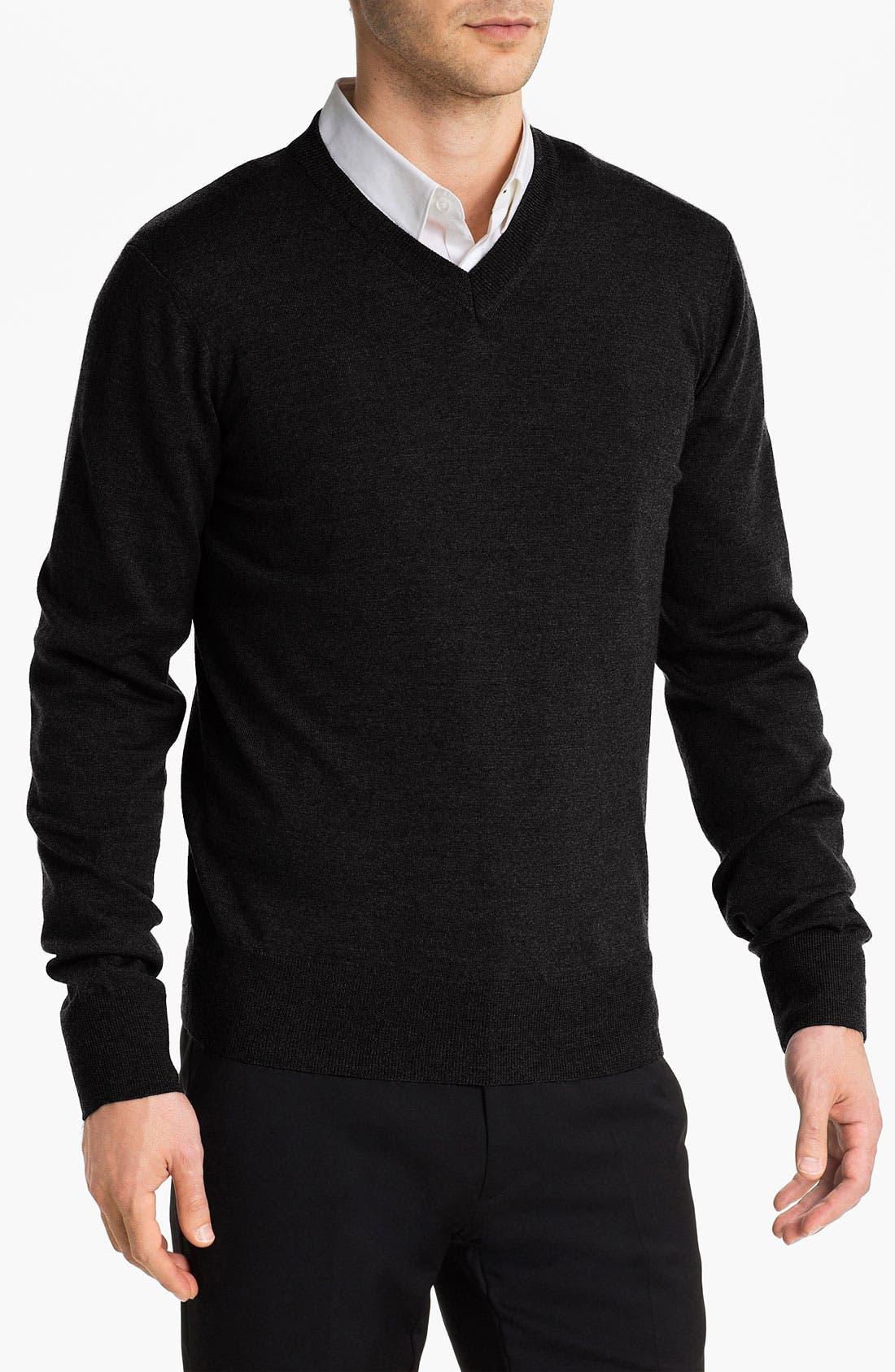 Main Image - HUGO Wool V-Neck Sweater