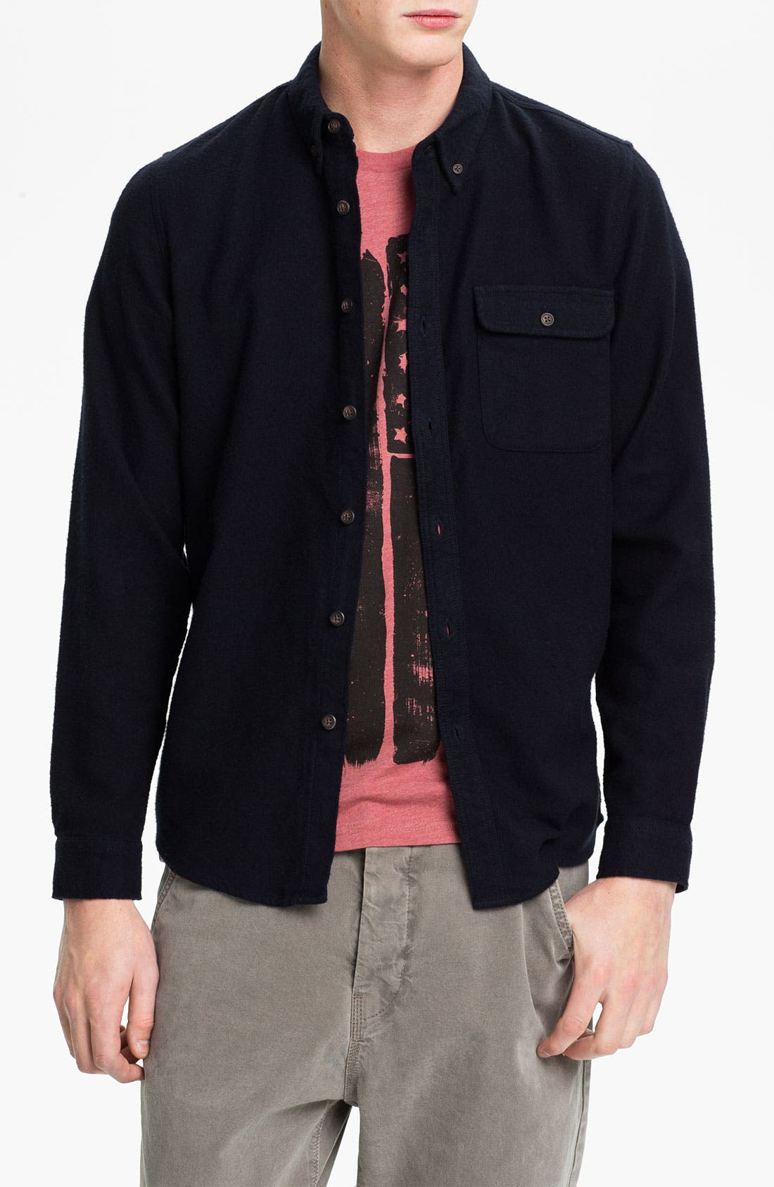 Alternate Image 1 Selected - Topman Herringbone Cotton Flannel Shirt
