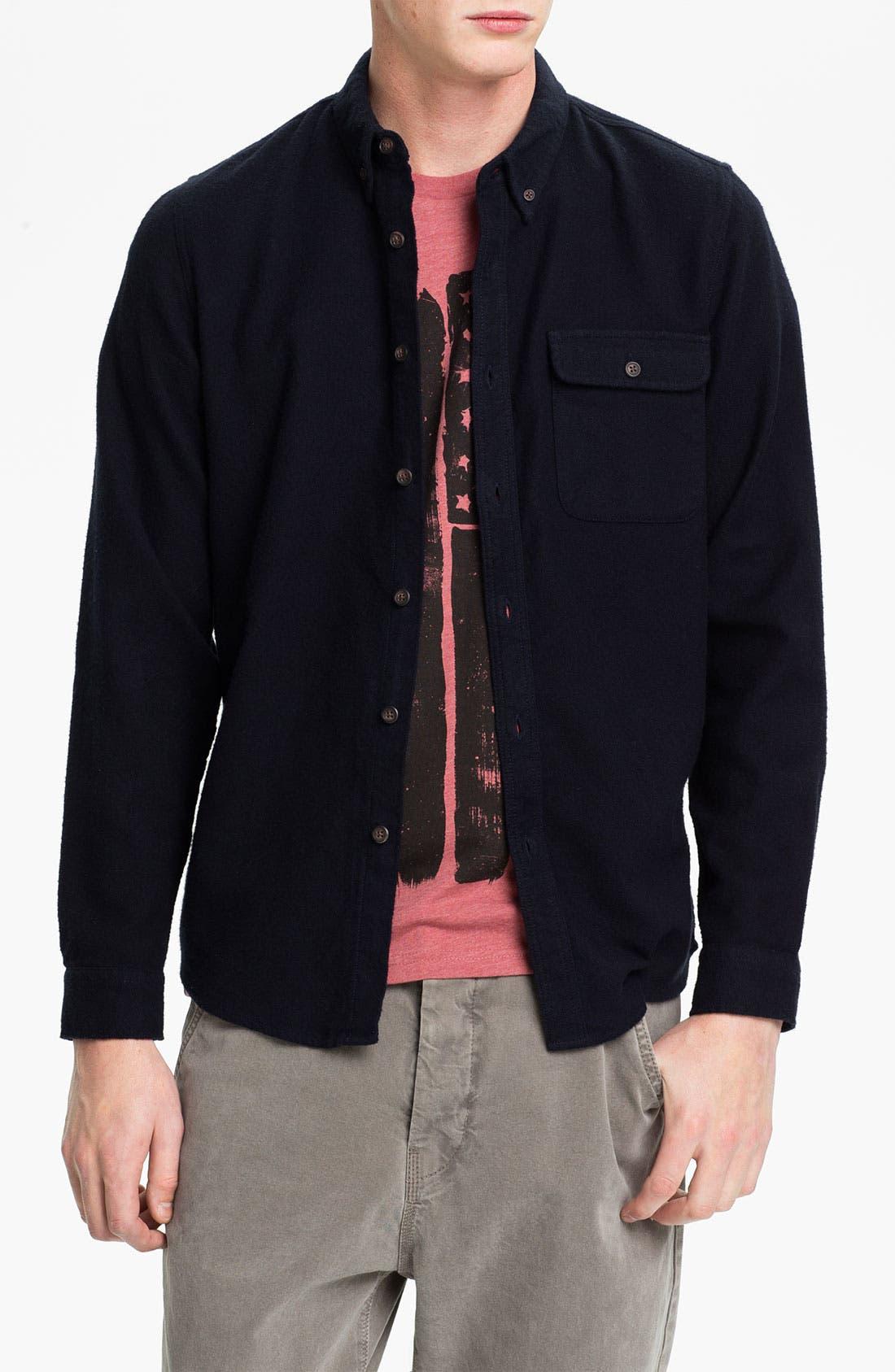 Main Image - Topman Herringbone Cotton Flannel Shirt