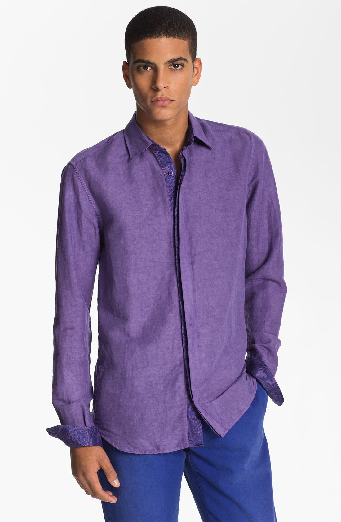 Alternate Image 1 Selected - Etro 'Camicia' Cotton & Linen Shirt