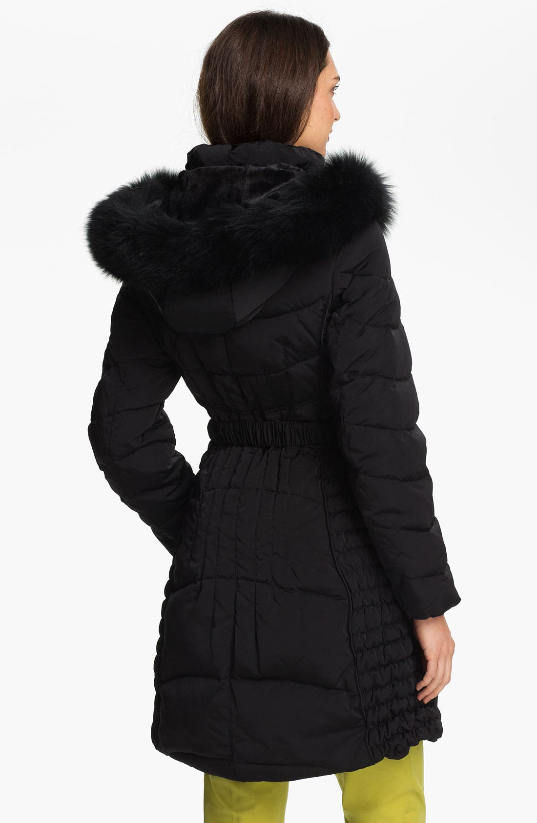 Alternate Image 2  - 1 Madison Quilted Coat with Genuine Fox Fur