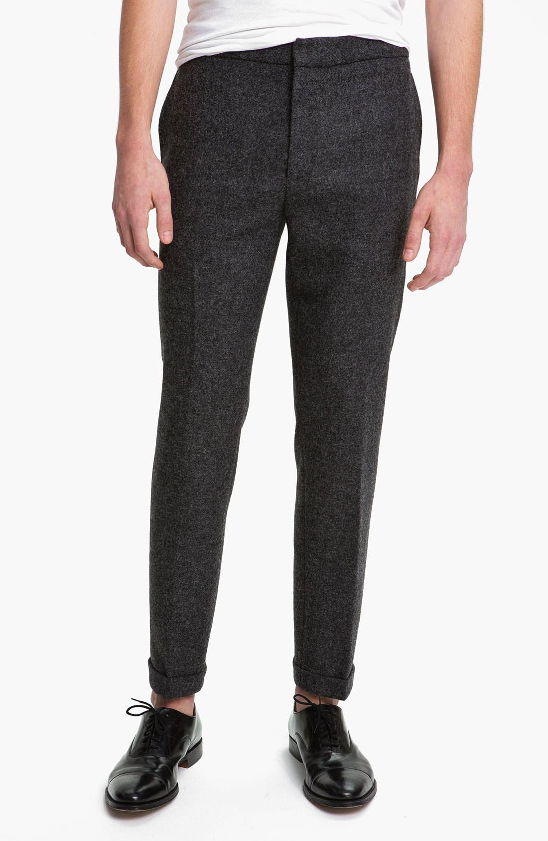 Alternate Image 1 Selected - Topman Skinny Fit Wool Trousers