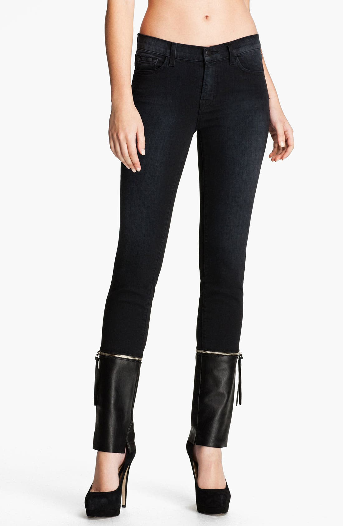 Main Image - J Brand Denim & Leather Skinny Pants
