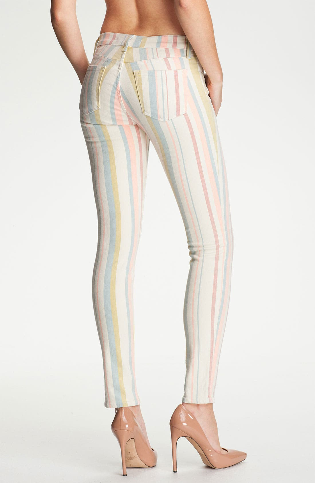 Alternate Image 2  - J Brand Pastel Stripe Stretch Denim Skinny Jeans (Candy Stripe)