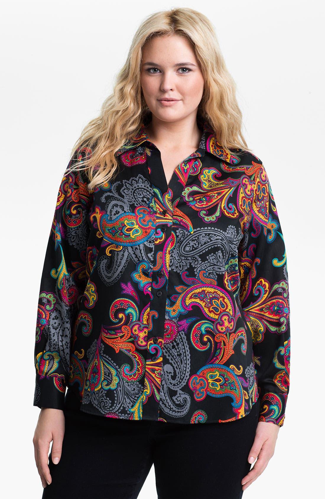 Main Image - Foxcroft 'Holiday Paisley' Shaped Shirt (Plus)