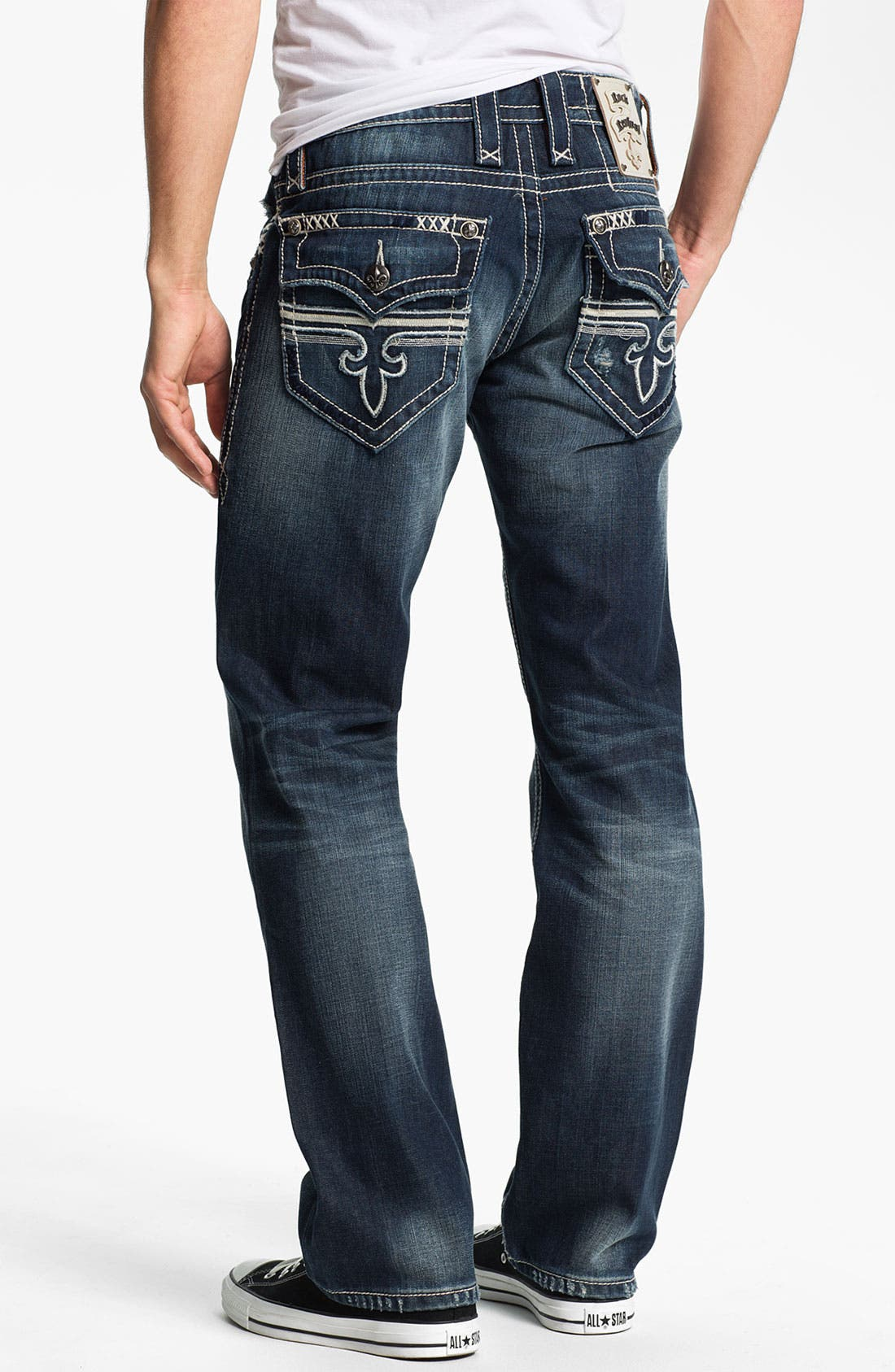 Alternate Image 1 Selected - Rock Revival 'Sebastian' Bootcut Jeans (Dark Blue)
