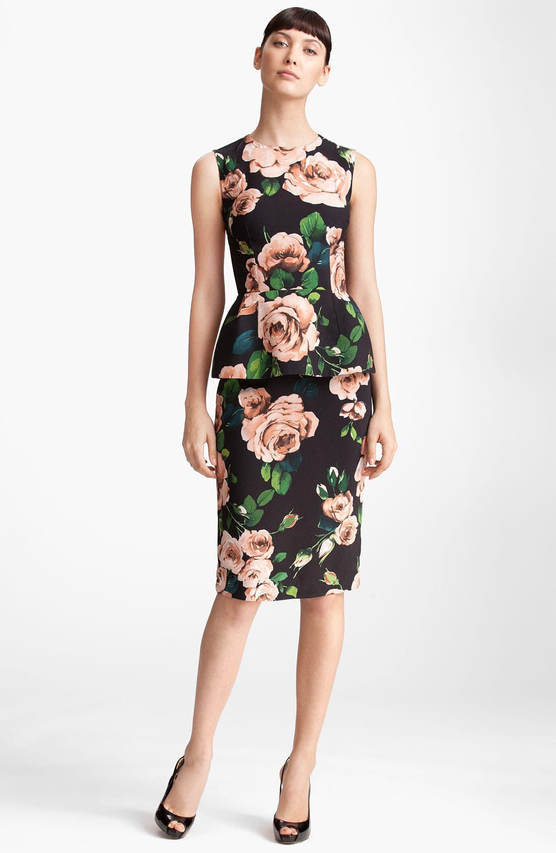 Alternate Image 4  - Dolce&Gabbana Rose Print Stretch Cady Skirt
