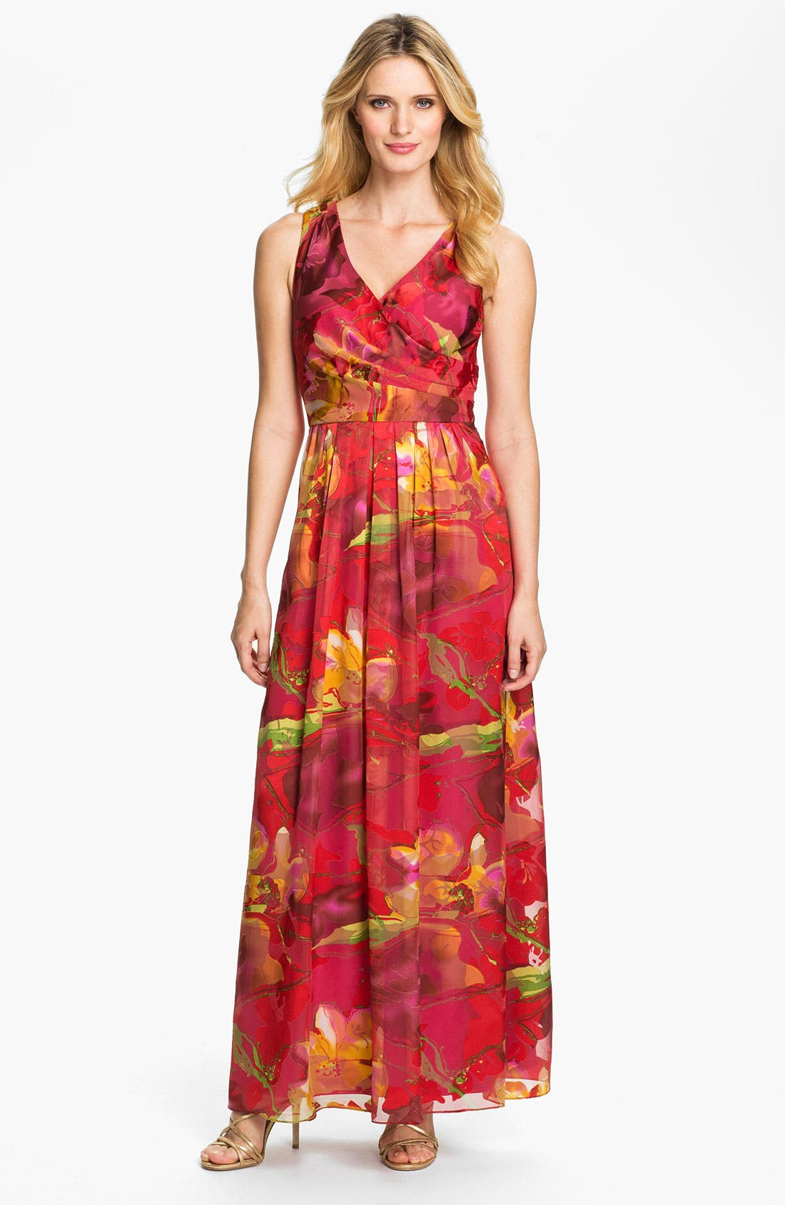 Main Image - Donna Ricco Surplice Print Maxi Dress