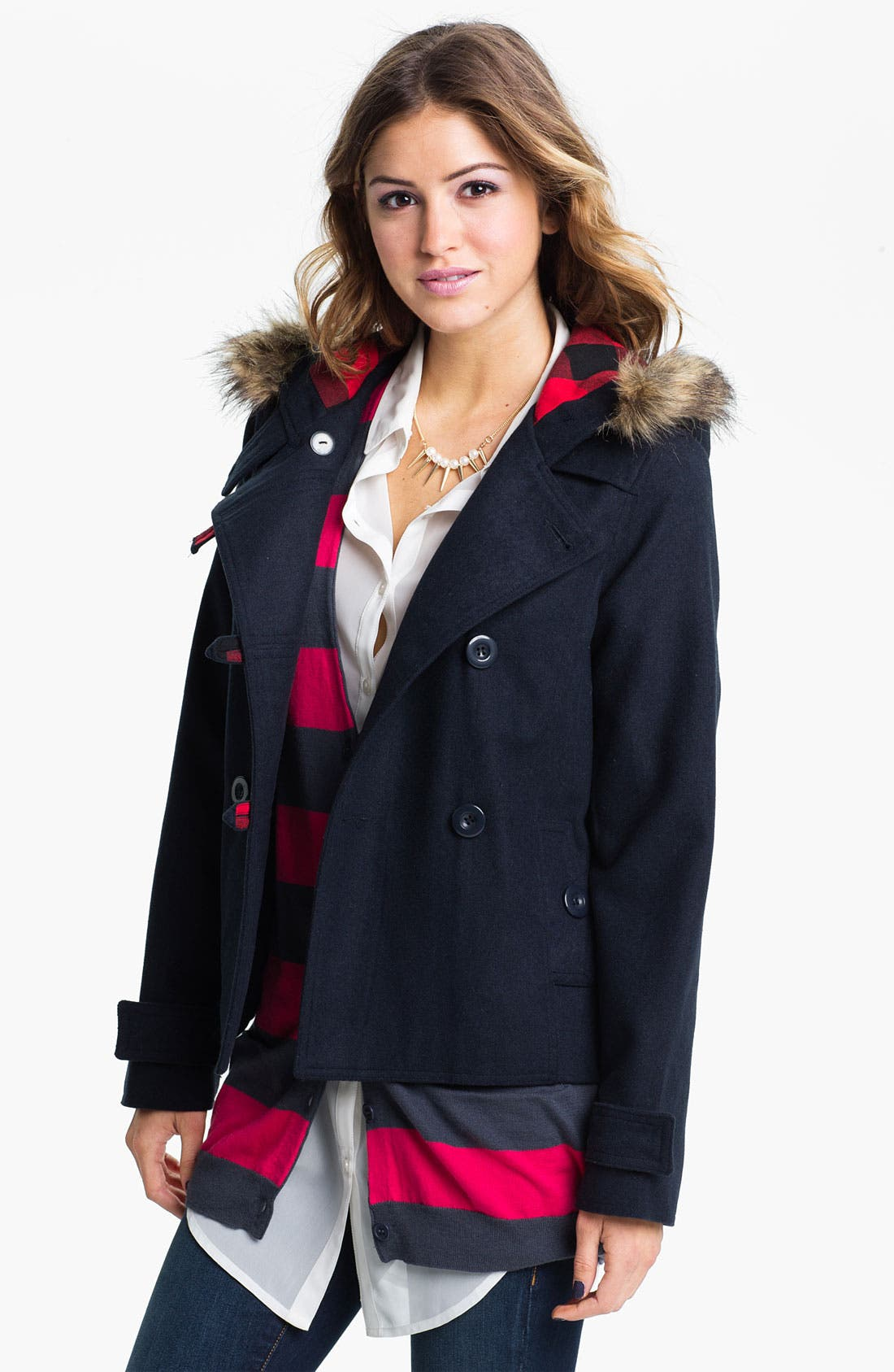 Alternate Image 1 Selected - Thread & Supply Double Breasted Coat (Juniors)