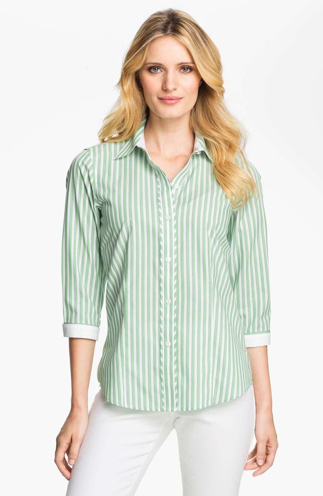 Alternate Image 1 Selected - Foxcroft Three Quarter Sleeve Stripe Shirt