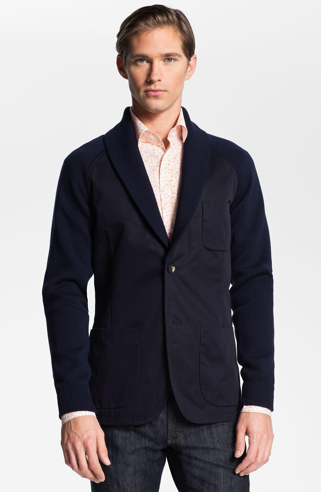 Main Image - Salvatore Ferragamo Shawl Collar Sportcoat with Knit Trim