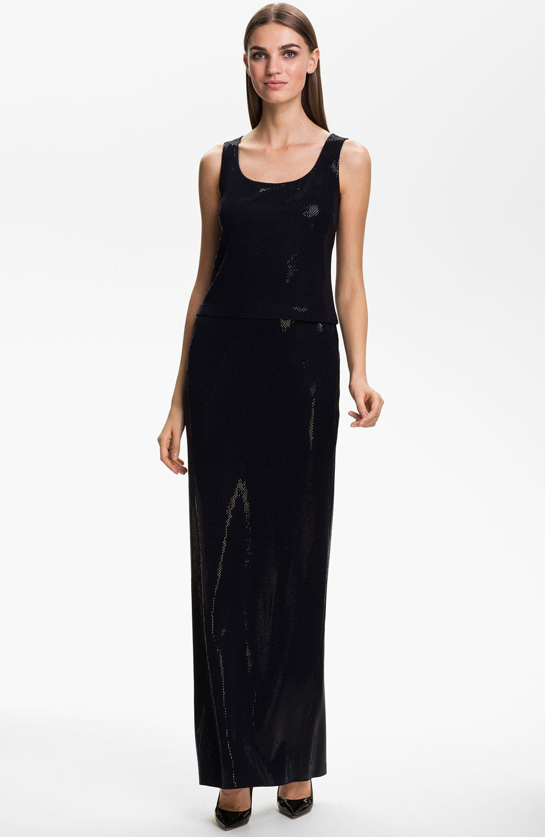 Main Image - St. John Collection Sleeveless Sequin Knit Gown