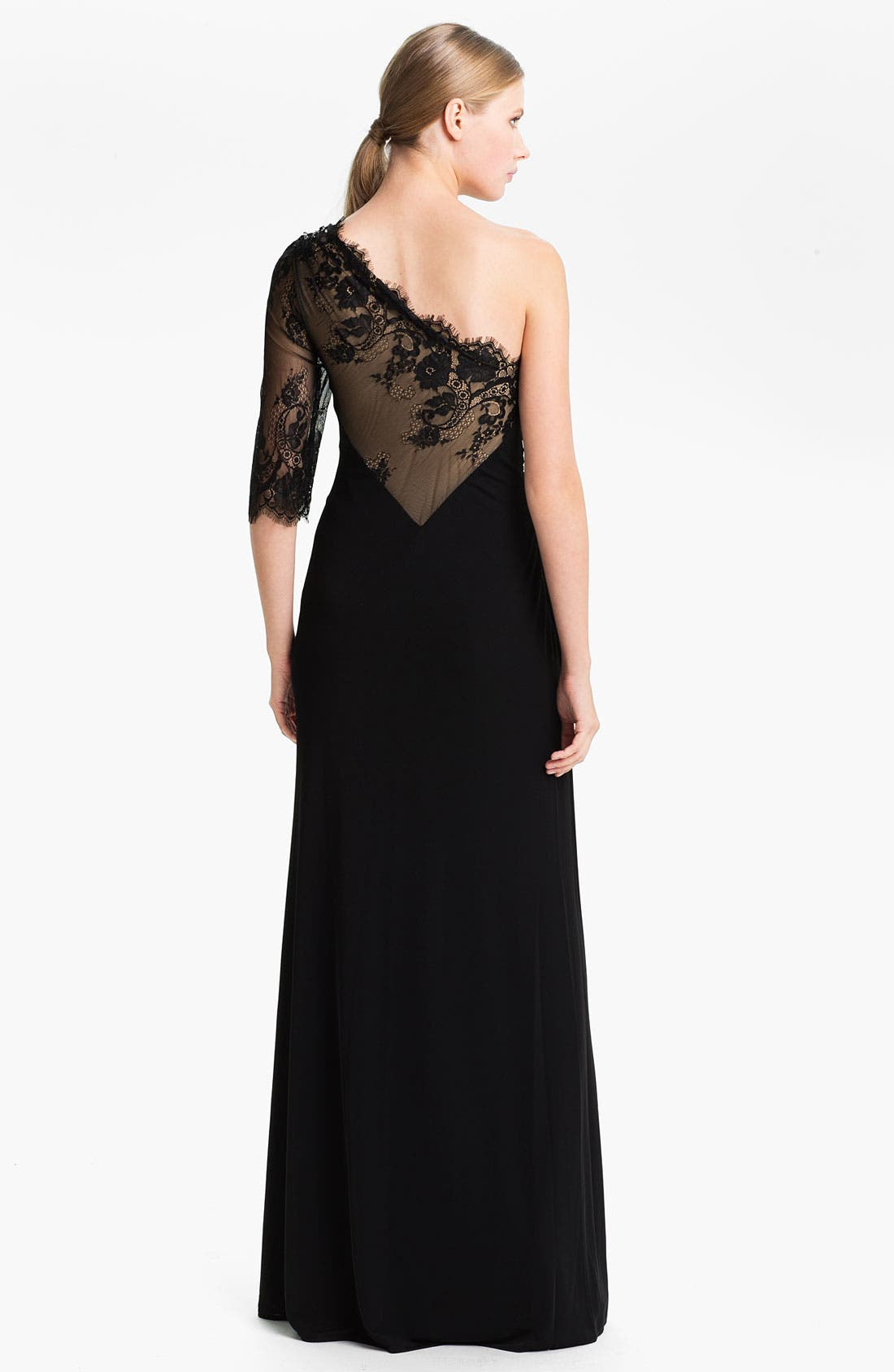 Alternate Image 2  - Faviana One Shoulder Jersey Gown