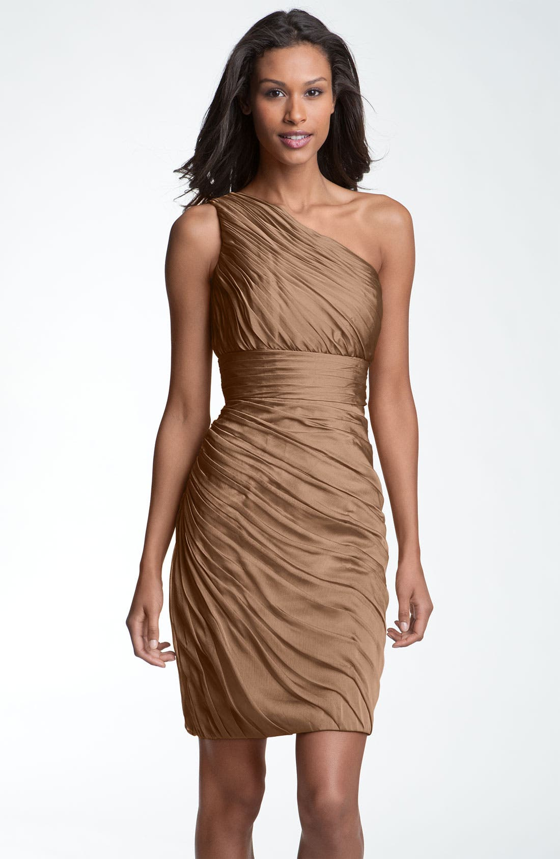 Main Image - ML Monique Lhuillier Bridesmaids Ruched One-Shoulder Chiffon Sheath Dress (Nordstrom Exclusive)