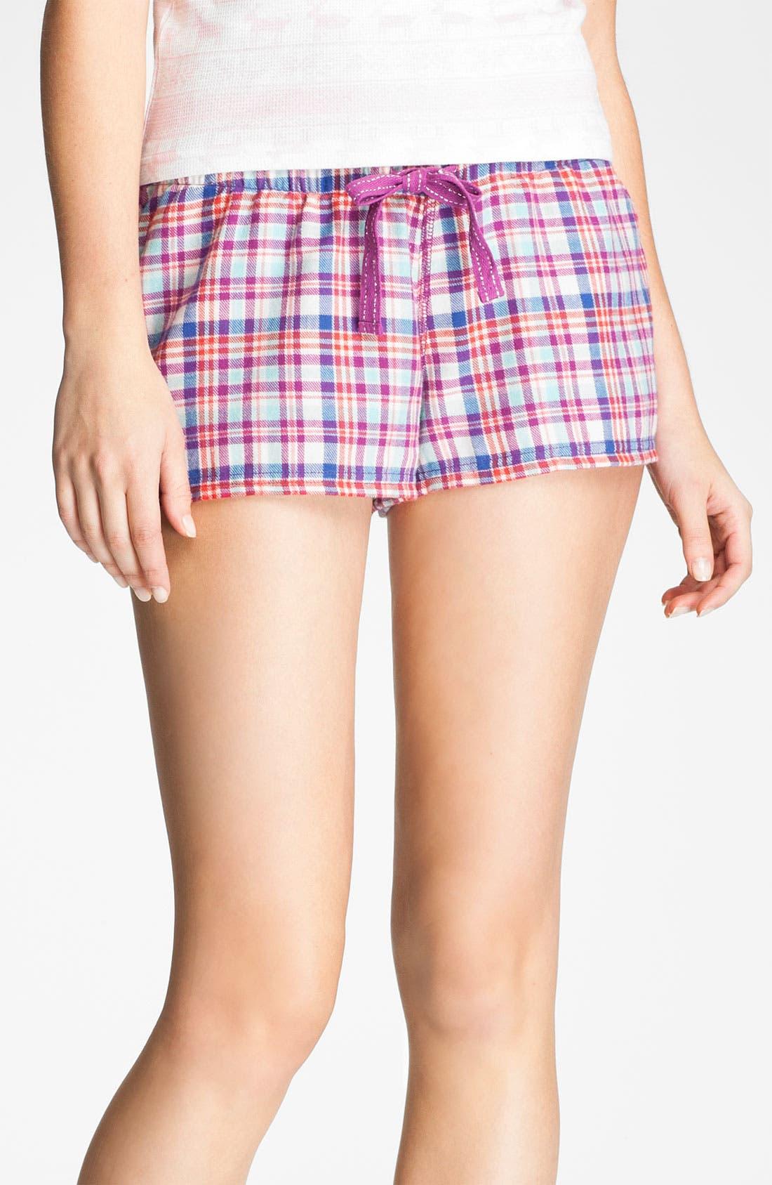 Main Image - BP. 'Union' Flannel Lounge Shorts (Juniors)