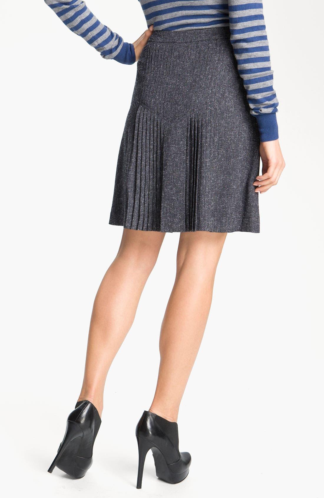 Alternate Image 2  - Halogen® Pleat Front Tweed Skirt (Petite)