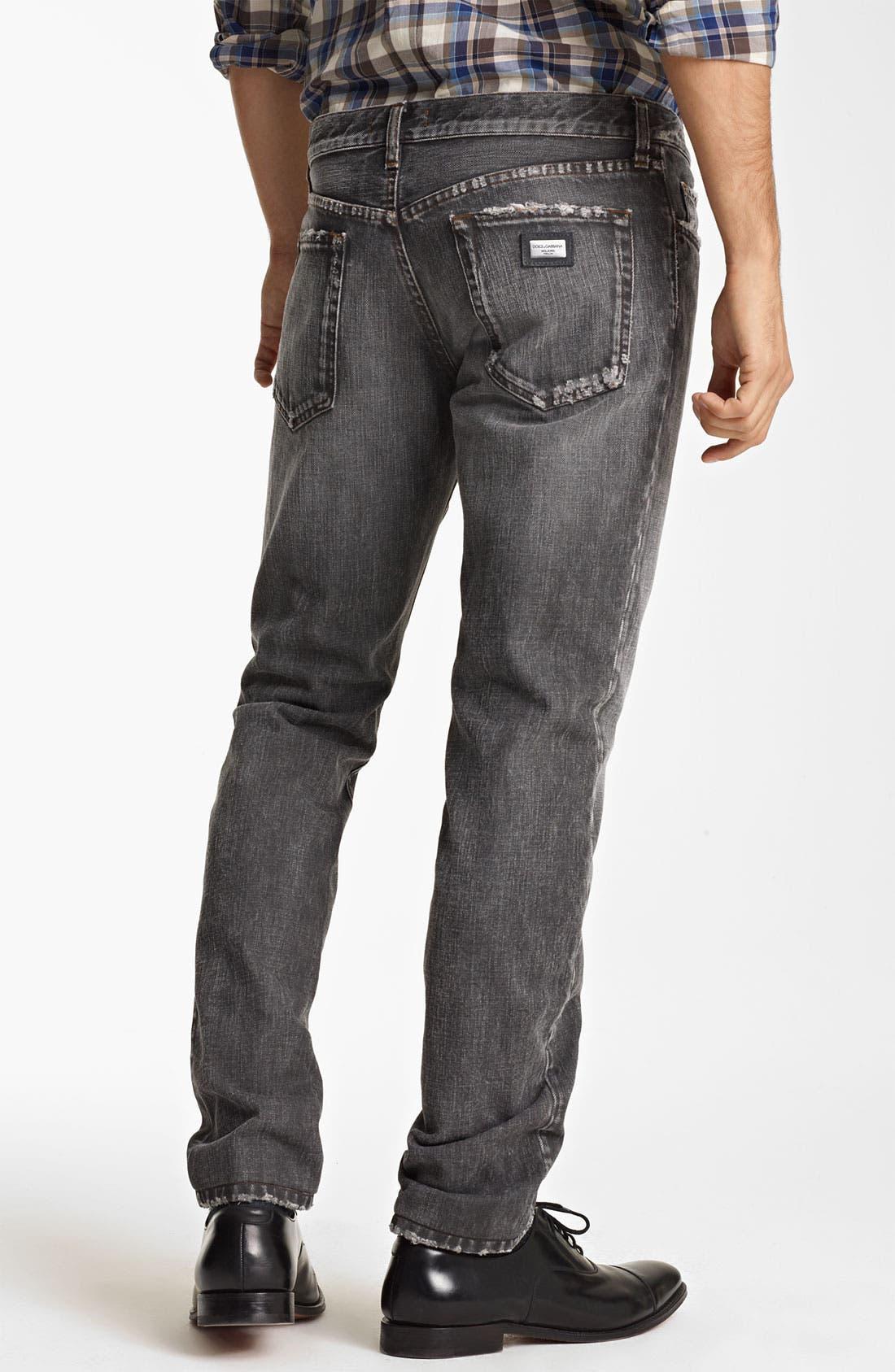 Alternate Image 2  - Dolce&Gabbana Slim Straight Leg Jeans (Dark Grey)