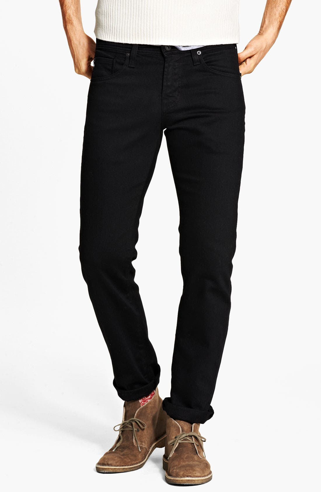 Alternate Image 1 Selected - AG 'Matchbox' Slim Fit Jeans (Coated Black)