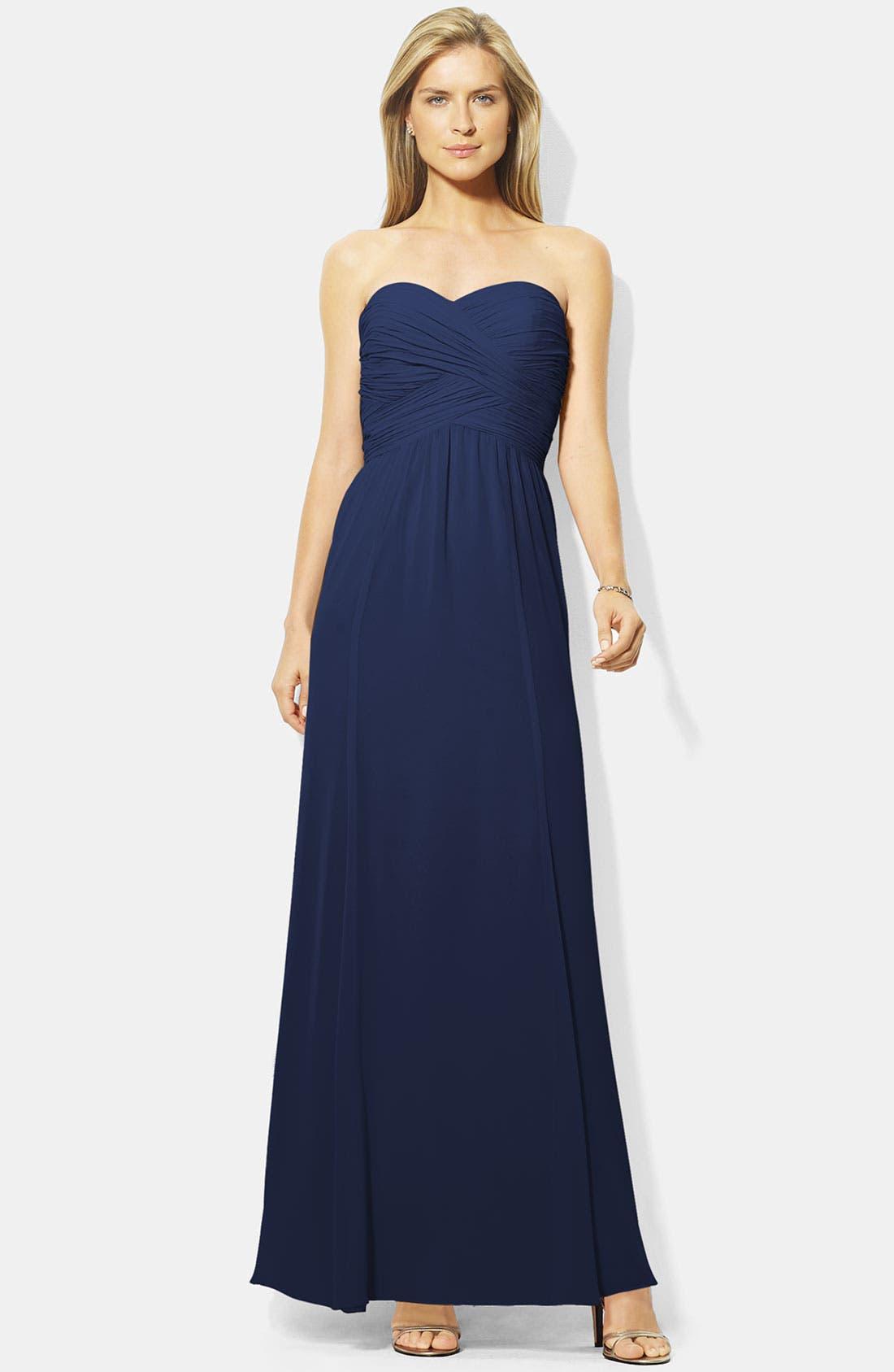 Main Image - Lauren Ralph Lauren Wrapped Bodice Sweetheart Gown