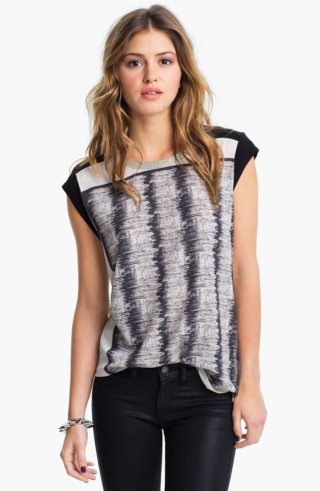 Alternate Image 1 Selected - Chloe K Embellished Necklace Graphic Muscle Tee (Juniors)