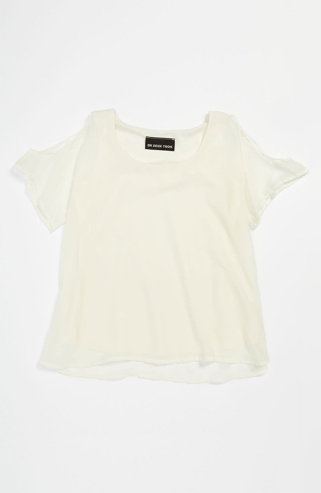 Main Image - Un Deux Trois Cold Shoulder Top (Big Girls)