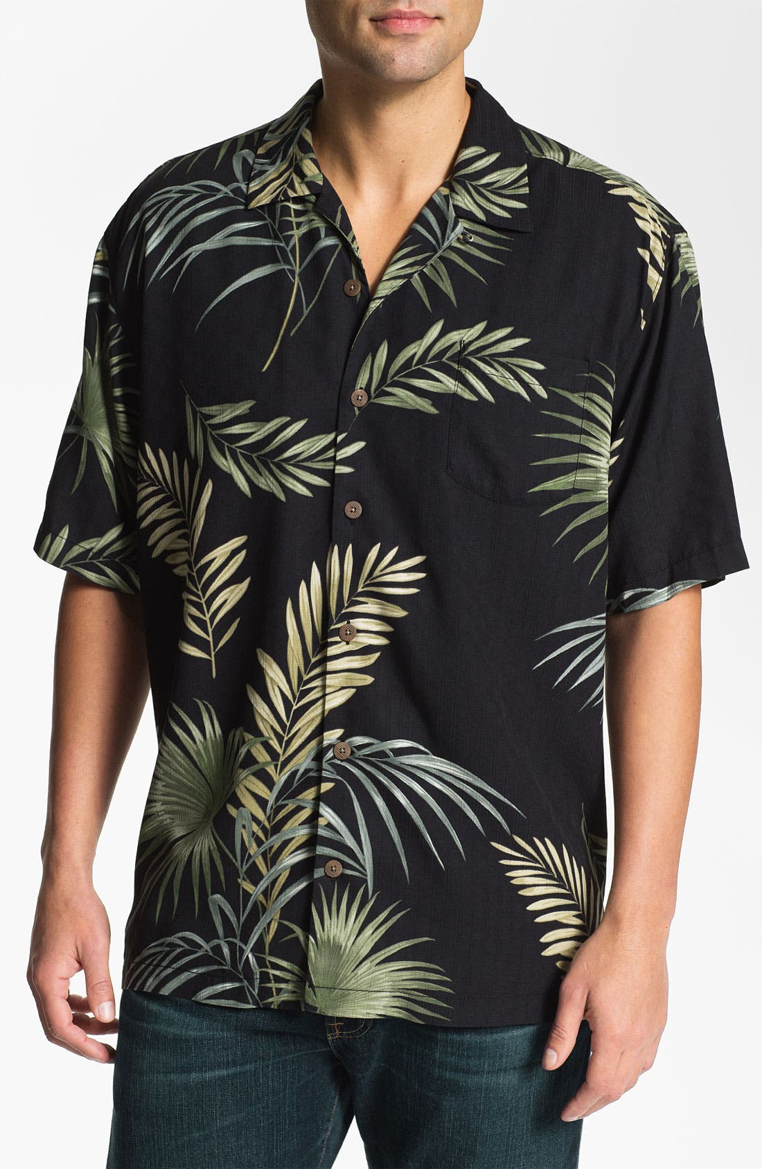 Main Image - Tommy Bahama 'Fronds with Benefits' Silk Campshirt
