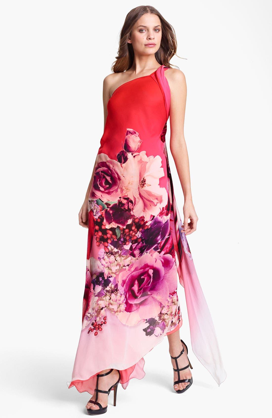 Main Image - Roberto Cavalli 'Veronique Print' One Shoulder Chiffon Gown