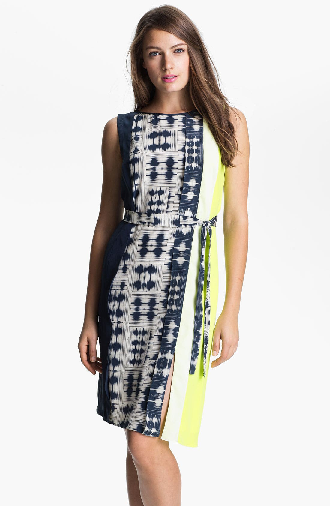 Main Image - BCBGMAXAZRIA Sleeveless Print Silk Dress