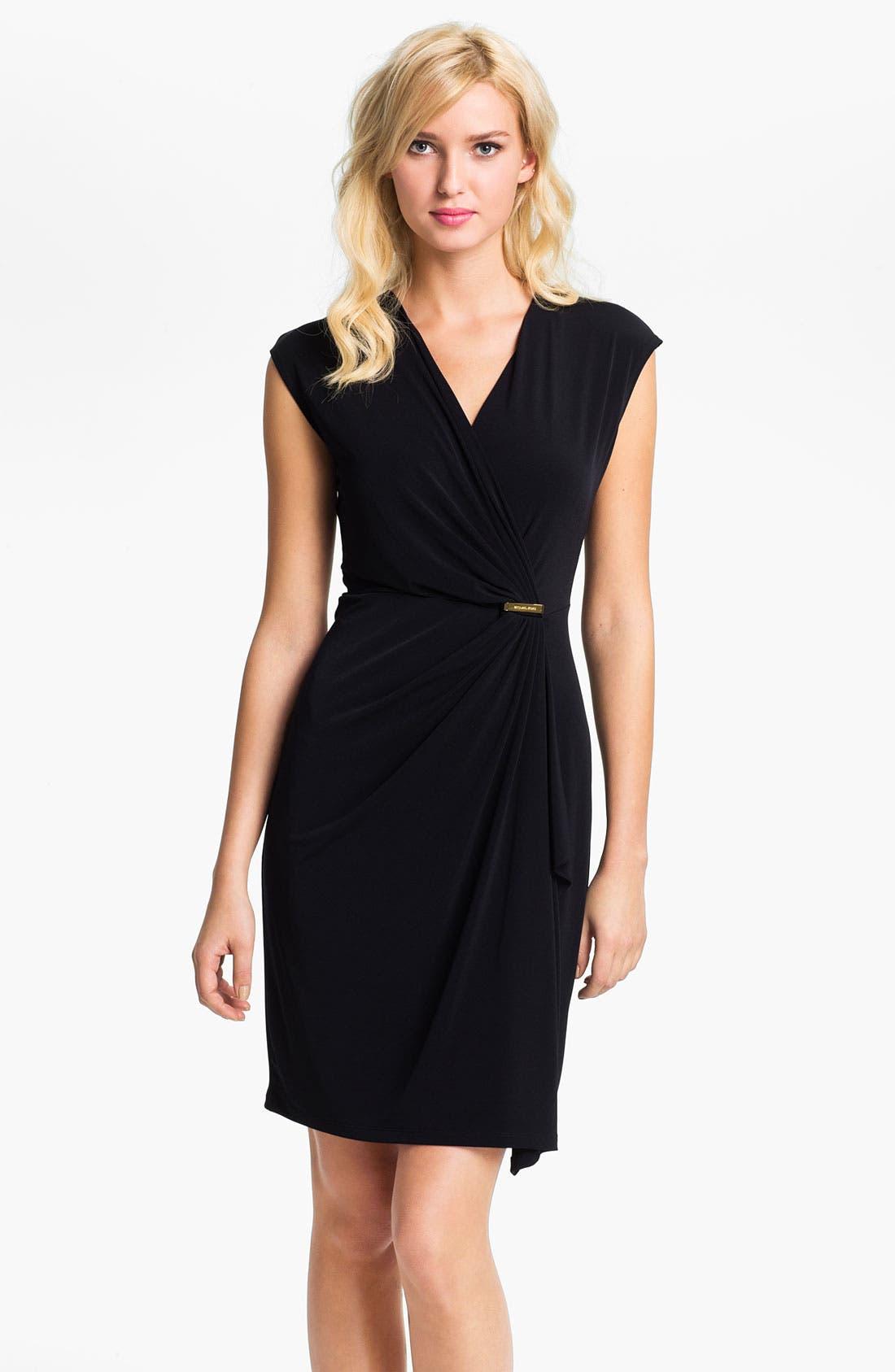 Main Image - MICHAEL Michael Kors Cap Sleeve Faux Wrap Dress