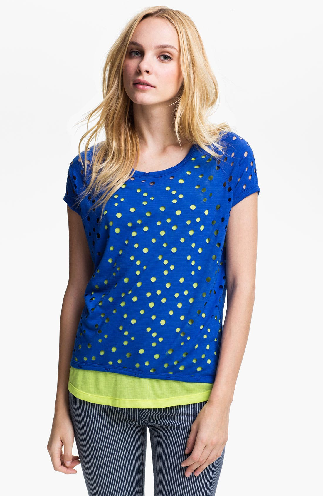 Alternate Image 1 Selected - Two by Vince Camuto Perforated Double Layer Tee