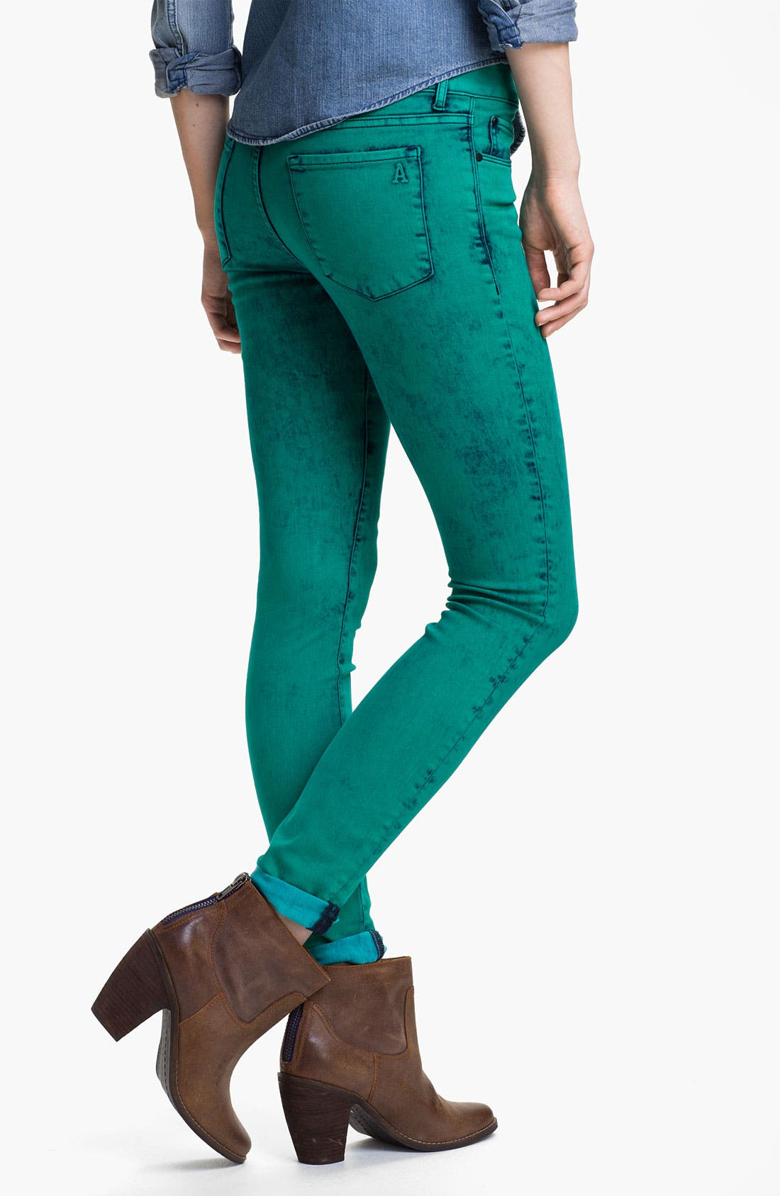 Alternate Image 1 Selected - Articles of Society Acid Wash Skinny Jeans (Juniors)